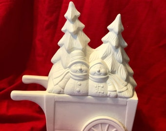 2 Piece Mayco's Snow People Lid with Cart in ceramic bisque ready to paint