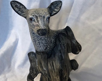 Dry Brushed Ceramic Driftwood Doe using Mayco Softee Stains by jmdceramicsart