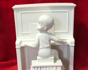 2 Piece Set of a Child Playing the Piano in ceramic bisque ready to paint