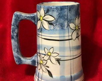Glazed Ceramic Floral Mug