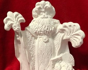 Rare Ceramic Mardi Gras Santa in bisque ready to paint