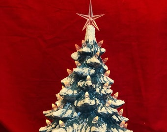 Turquoise Blue Mother of Pearl Ceramic Ornament Christmas Tree and Base with snow,  clear bulbs and star