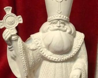 Rare Gare Molds Saint Nicholas Santa in ceramic bisque ready to paint
