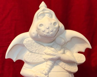 Clay Magic's Cinder Dragon in ceramic bisque ready to paint bisque pic coming soon