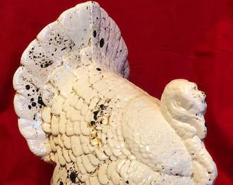 Rustic Milk Glass Glazed Ceramic Medium Thanksgiving Turkey with gold flecks