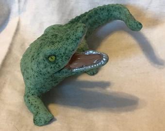 Glazed green sapphire ceramic Alligator by jmdceramicsart