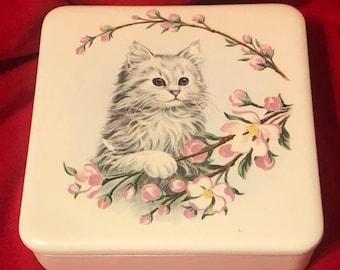 Ceramic Trinket Box with Cat Decal by jmdceramicsart