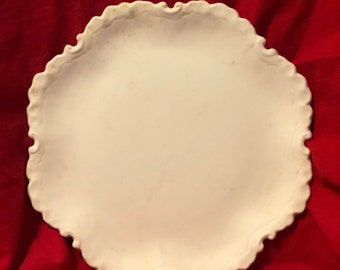 Very Rare Vintage Decorative Ceramic Plate in bisque ready to paint by jmdceramicsart