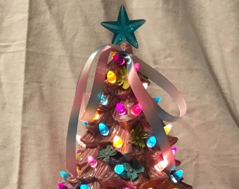 April Showers and May Flowers  Ceramic Ornament Tree with white flecks, multicolor bulbs and aqua star by jmdceramicsart