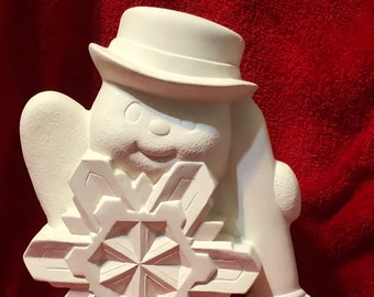 Clay Magics Snowflake Snowman in ceramic bisque ready to paint
