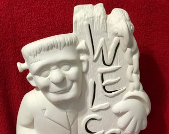 Ceramic Frankie Welcome Sign in bisque ready to paint