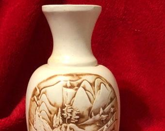 Vintage Glazed Ceramic Vase with scene