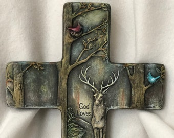 Ceramic Dry Brushed Cross Wall Hanging using Mayco Softee Stains