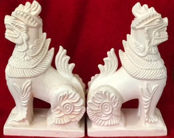 Very Rare Ceramic Gargoyle statues or book ends in bisque ready to paint