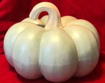 Matte Aqua Glazed Pumpkin with Empress White Stem