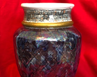 One of a kind glaze with mother of pearl Ceramic Vase