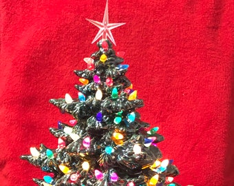 """Ceramic Christmas  """"l'arbre aux nombreuses lumières """" Glazed Frazier Fir and Base with multicolor bulbs, clear star and light kit"""