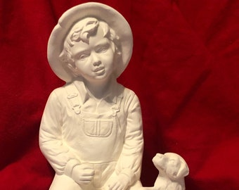 Vintage Little Boy and his dog in ceramic bisque ready to paint