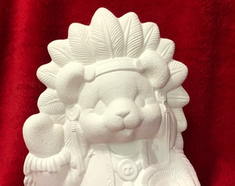 Clay Magic Ceramic Indian Bear in bisque ready to paint