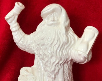 Milk Glass Glazed Father Time Santa Claus