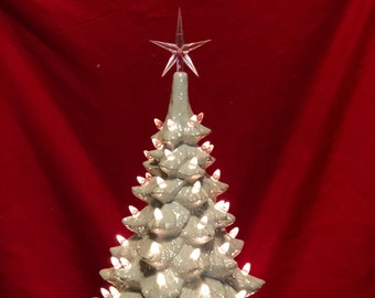 Scioto Molds Ceramic Ornament Christmas Tree and Base glazed with milk glass white and mother of pearl