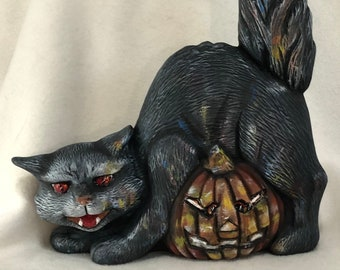 Dry Brushed Halloween Cat and Pumpkin using Mayco Softee Stains