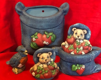 Ceramic 5 piece Burlap containers with Strawberries and bear tops with bird