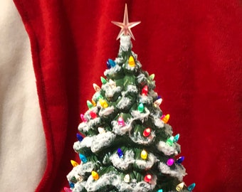 Cramer Molds Green Glazed Christmas Tree with snow, multicolor bulbs, clear star and base