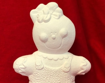 Ceramic Gingerbread Girl in bisque ready to paint by jmdceramicsart