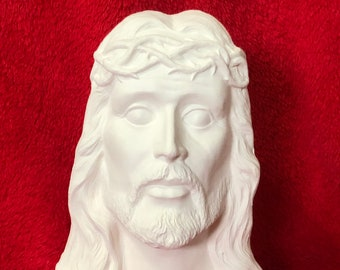 Bust of Jesus Christ in ceramic bisque ready to paint