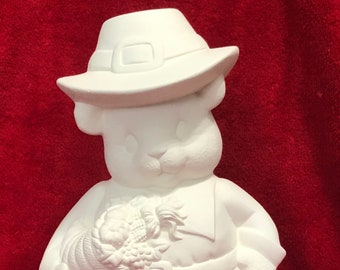 Clay Magic's Male Pilgrim Bear in ceramic bisque ready to paint