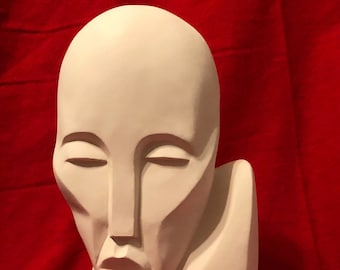 Modern Male Bust in ceramic bisque ready to paint