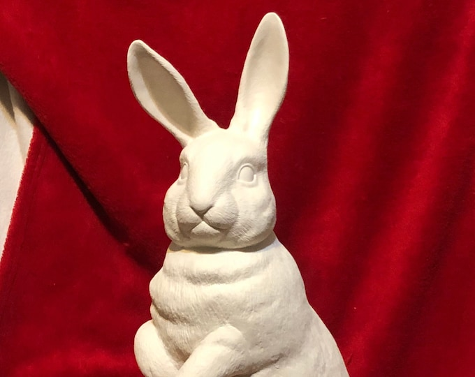 Featured listing image: Duncan Molds Life Size Standing Rabbit in ceramic bisque ready to paint