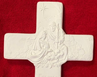 Nativity Cross in ceramic bisque ready to paint