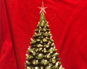 Scioto Molds Glazed Ceramic Mantle Christmas Tree and Base and light kit by jmdceramicsart