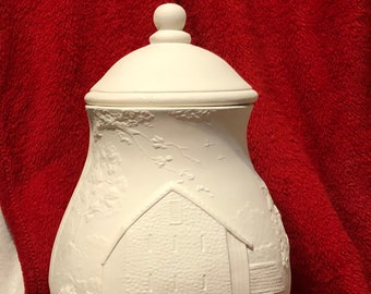 3 piece set Ceramic Scioto Seasons Jar ready to paint