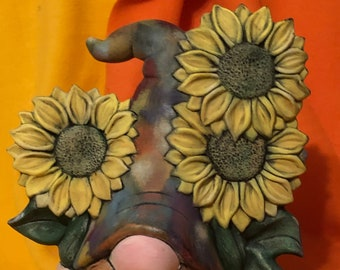 Clay Magics New Sven Gnome with Sunflowers dry brushed using Mayco Softee Stains by jmdceramicsart