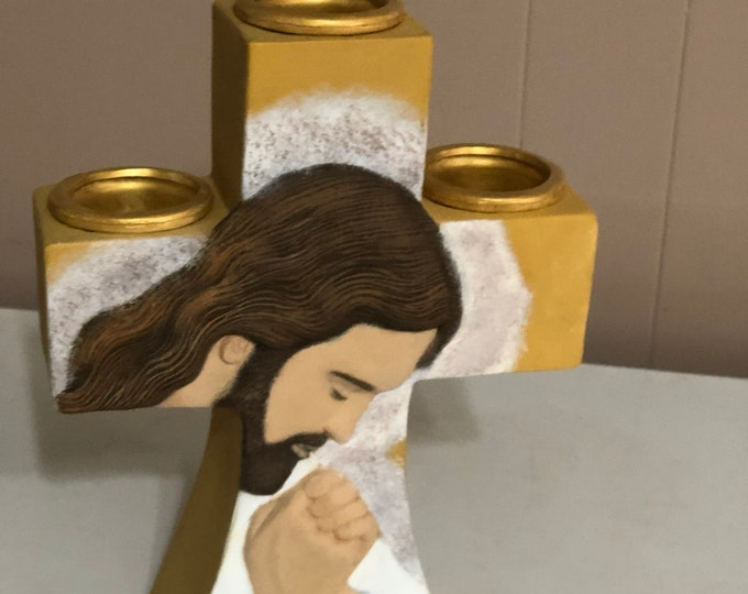Jesus Praying Votive Candle Centerpiece