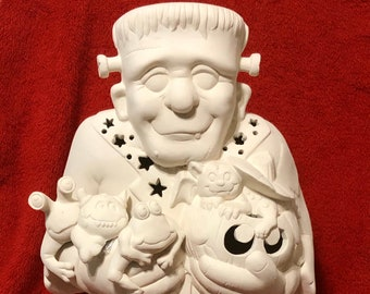 Large Frankenstein with holes for lamp in ceramic bisque ready to paint