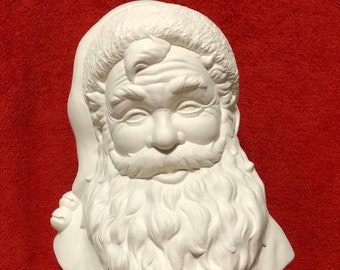 Large Santa Bust in ceramic bisque ready to paint