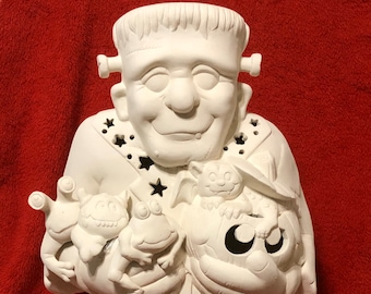 Large Frankenstein without holes in ceramic bisque ready to paint