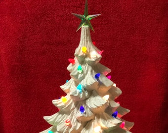 Milk Glass Glazed Ceramic Christmas Tree