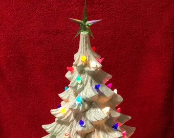 Milk Glass Glazed Ceramic Christmas Tree with Music Box