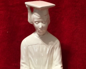 Milk Glass Glazed Ceramic Sitting Graduate
