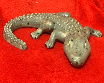 Ceramic Glazed Walligator Wall Hanging using Mayco Flat Alligator glaze with Specks