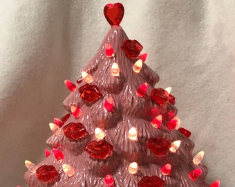 Ceramic Glazed Valentines Mantle Tree with light pack
