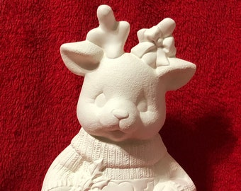 Christmas Deer in ceramic bisque ready to paint