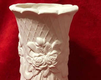 Rare Vintage Rose and Ribbon Vase in ceramic bisque ready to paint