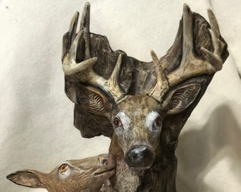 Dry Brushed Ceramic Driftwood Deer using Mayco Softee Stains