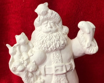 Beanie Baby Santa Claus in ceramic bisque ready to paint
